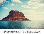 greek rocky island monemvasia ... | Shutterstock . vector #1051886624