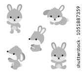 cute cartoon rabbits in flat... | Shutterstock .eps vector #1051887359