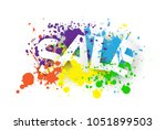 sale poster design with paint... | Shutterstock .eps vector #1051899503