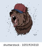 hipster bear in cap. vector... | Shutterstock .eps vector #1051924310