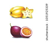 passion fruit and carambola on... | Shutterstock . vector #1051925339