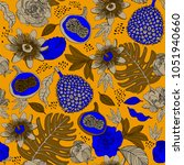 bright exotic fruits pattern... | Shutterstock .eps vector #1051940660