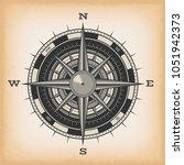 wind rose compass on vintage... | Shutterstock .eps vector #1051942373
