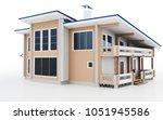 3d modern house on white... | Shutterstock . vector #1051945586