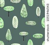 watercolor vector trees... | Shutterstock .eps vector #1051946543