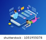 isometric concept of friends... | Shutterstock .eps vector #1051955078