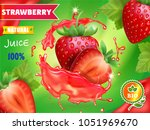 strawberry juice advertising.... | Shutterstock .eps vector #1051969670