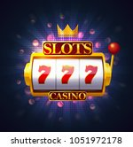 slot machine with lever and... | Shutterstock .eps vector #1051972178