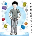 cute little teen boy standing... | Shutterstock .eps vector #1051972910