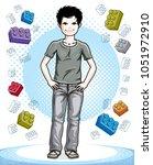 cute little teen boy standing... | Shutterstock .eps vector #1051972910
