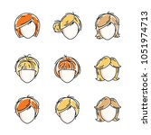 collection of women faces ...   Shutterstock .eps vector #1051974713