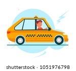 yellow taxi car and taxi driver.... | Shutterstock .eps vector #1051976798