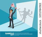 isometric the winner. concept... | Shutterstock .eps vector #1051984583