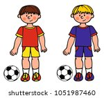 two soccer kids with different... | Shutterstock .eps vector #1051987460