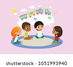 girl telling fairy tale to... | Shutterstock . vector #1051993940