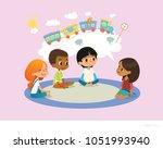 girl telling fairy tale to... | Shutterstock . vector #1051993940