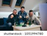 group of friends watching sport ... | Shutterstock . vector #1051994780