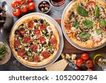 margherita and pepperoni with...   Shutterstock . vector #1052002784