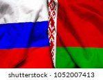 russia and belarus flag together | Shutterstock . vector #1052007413