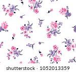 floral bouquet vector pattern... | Shutterstock .eps vector #1052013359