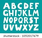 vector hand drawn white font.... | Shutterstock .eps vector #1052017679