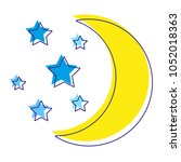 moon with stars silhouette... | Shutterstock .eps vector #1052018363