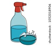 household cleaning product... | Shutterstock .eps vector #1052018906