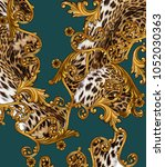 baroque and leopard skin... | Shutterstock . vector #1052030363
