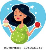 pregnant woman choosing between ... | Shutterstock .eps vector #1052031353