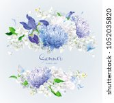 vintage floral vector rosette ...   Shutterstock .eps vector #1052035820