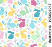 seamless easter vector pattern... | Shutterstock .eps vector #1052039093