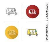auto rickshaw icon. tuk tuk.... | Shutterstock .eps vector #1052050628