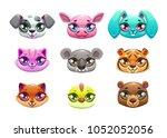little cute cartoon animal... | Shutterstock .eps vector #1052052056