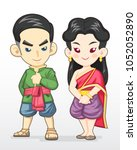 cute cartoon style thai couple... | Shutterstock .eps vector #1052052890