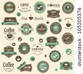 collection of coffee labels and ... | Shutterstock .eps vector #105205376