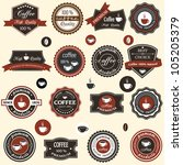 coffee labels and elements in... | Shutterstock .eps vector #105205379