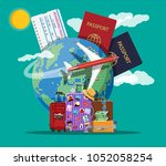 travel suitcase with stickers... | Shutterstock .eps vector #1052058254