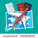 airplane top view. passenger or ... | Shutterstock .eps vector #1052058320