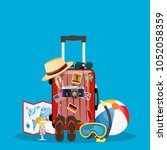 travel bag  luggage suitcase... | Shutterstock .eps vector #1052058359