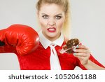 woman fighting with her bad... | Shutterstock . vector #1052061188