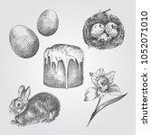 hand drawn easter set.... | Shutterstock .eps vector #1052071010