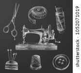 hand drawn sewing sketches set. ... | Shutterstock .eps vector #1052071019