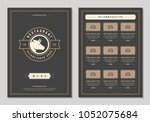restaurant logo and menu design ... | Shutterstock .eps vector #1052075684