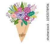 vector flower bouquet. floral... | Shutterstock .eps vector #1052078936