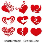 vector. 9 hearts. | Shutterstock .eps vector #105208220