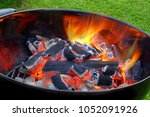 bbq kettle grill with glowing... | Shutterstock . vector #1052091926