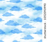 seamless cloudscape background  ... | Shutterstock .eps vector #1052093990