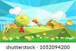 polygon spring season green... | Shutterstock .eps vector #1052094200