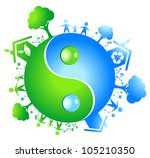eco yinyang. vector ilustration | Shutterstock .eps vector #105210350