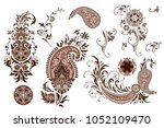 set of butas and   floral... | Shutterstock .eps vector #1052109470